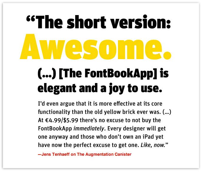 FontBook for iPad – Jens Tenhaeff Quote
