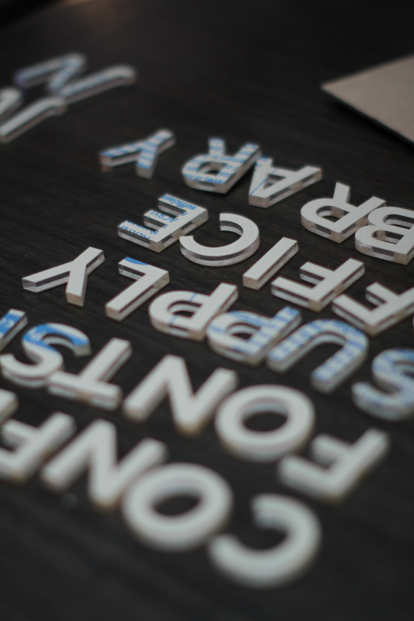 Signage letters in ARS Maquette