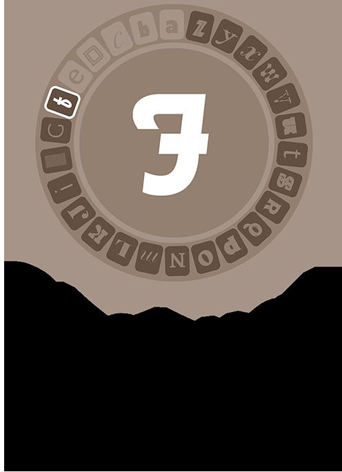 F, set in Futura Script
