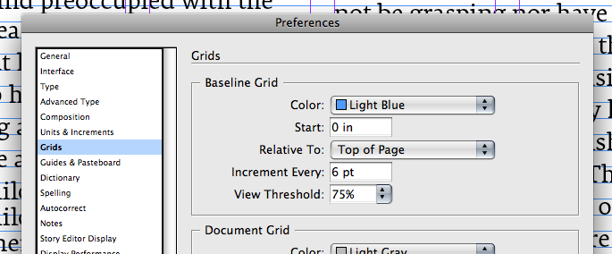 Baseline grid dialog