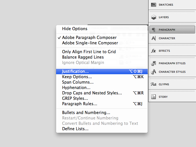 InDesign justification settings