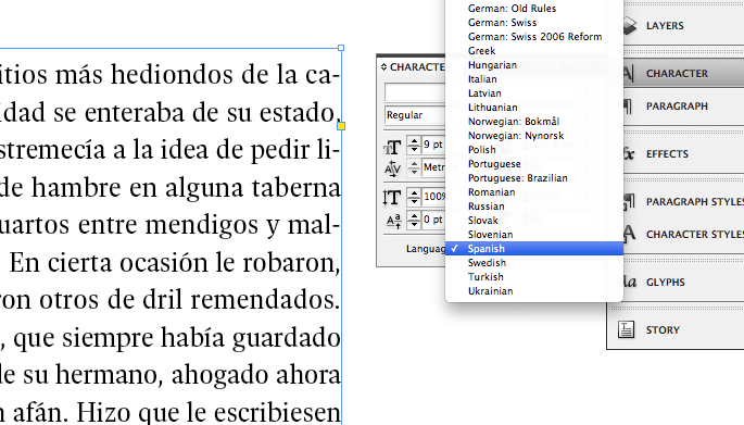 InDesign language settings