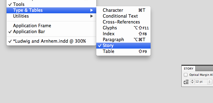 InDesign story settings