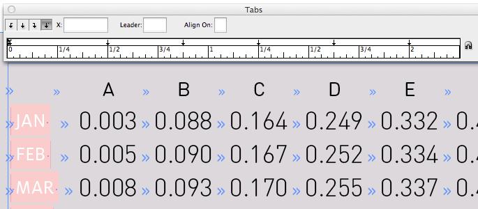 Center-aligned tab