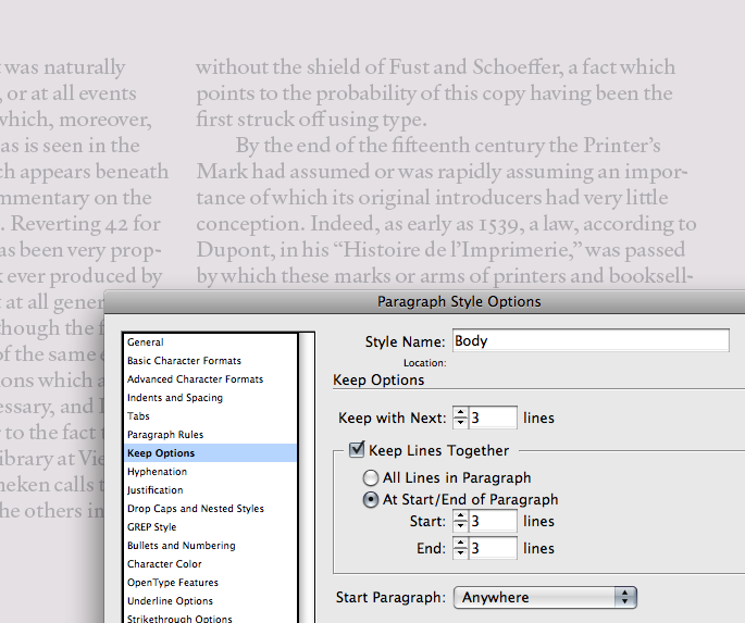Keep Options in InDesign