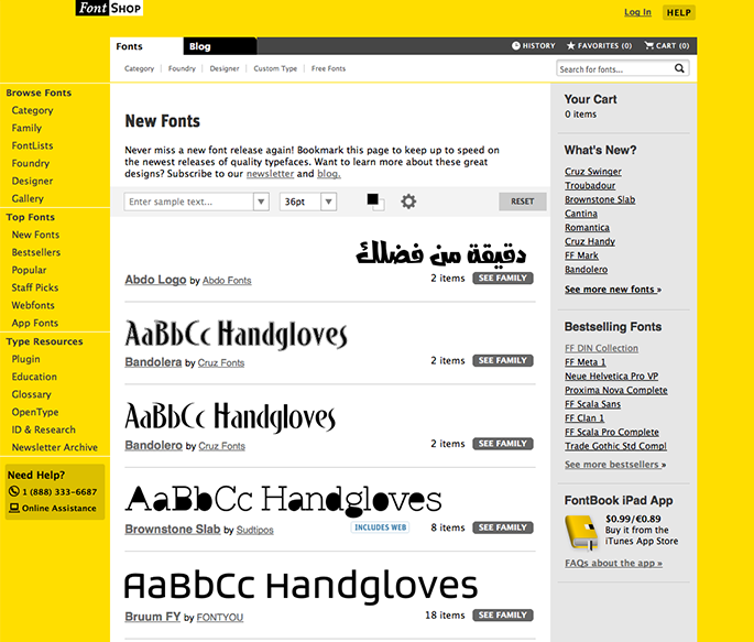 New Fonts page